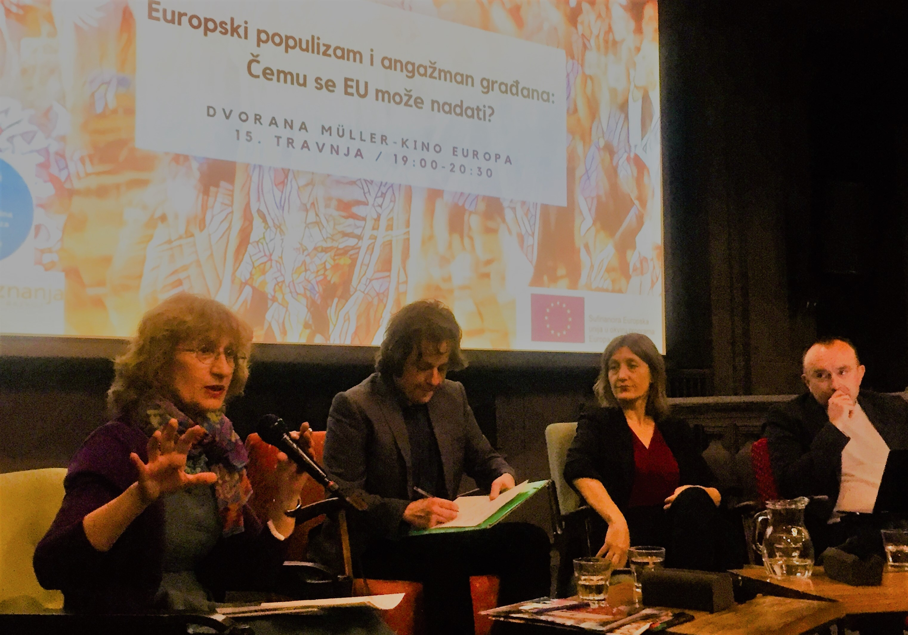 Anna Krasteva took part at the public debate on populism and civic activism in the most vibrant cultural place in Zagreb (Cinema Europe) on April 15, 2019.